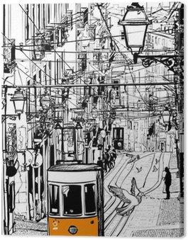 Canvas Print Typical tramway in Lisbon near Chiado square
