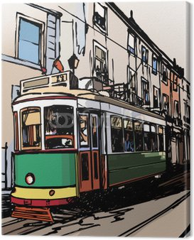 Canvas Print typical tramway in Lisbon