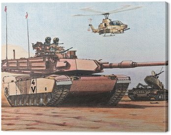 U.S. Abrams tank passes a destroyed Iraqi T-55