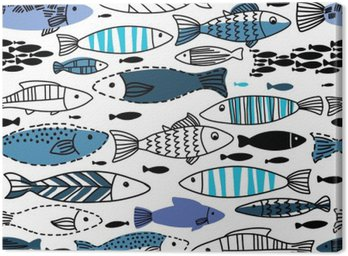Canvas Print Underwater seamless pattern with fishes. Seamless pattern can be used for wallpapers, web page backgrounds