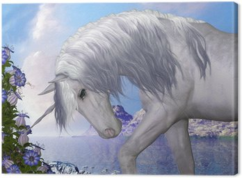 Canvas Print Unicorn and Blue Bell Flowers
