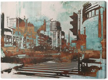 Canvas Print urban cityscape with abstract grunge,illustration painting