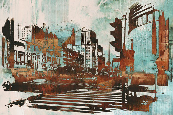 Canvas Print urban cityscape with abstract grunge,illustration painting - Hobbies and Leisure