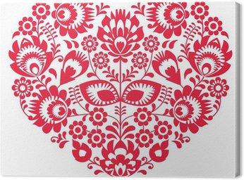 Canvas Print Valentines Day folk art red heart - Polish pattern