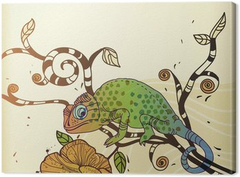 vector background with a chameleon and a desert flower Canvas Print