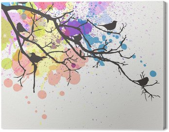 Vector Branch with birds on an abstract background