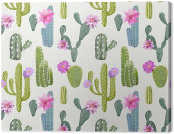Canvas Print Vector Cactus Background. Seamless Pattern. Exotic Plant. Tropic