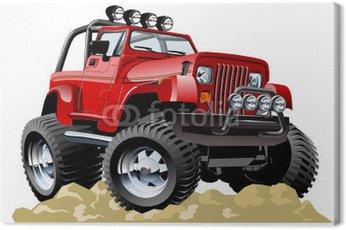 Canvas Print Vector cartoon jeep one-click repaint
