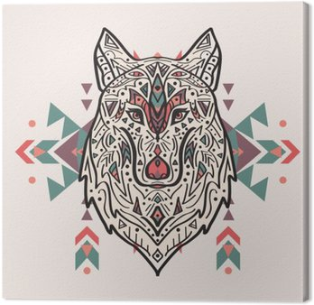 Canvas Print Vector colorful illustration of tribal style wolf with ethnic ornaments. American indian motifs. Totem tattoo. Boho design.