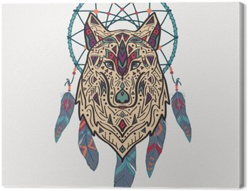 Canvas Print Vector colorful illustration of tribal style wolf with ethnic ornaments and dream catcher. American indian motifs. Totem tattoo. Boho design.