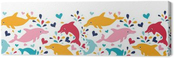 Canvas Print vector fun colorful dolphins horizontal seamless pattern