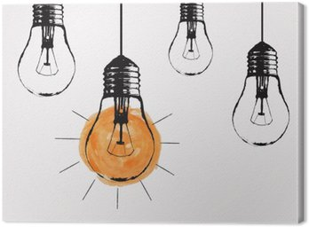 Canvas Print Vector grunge illustration with hanging light bulbs and place for text. Modern hipster sketch style. Unique idea and creative thinking concept.
