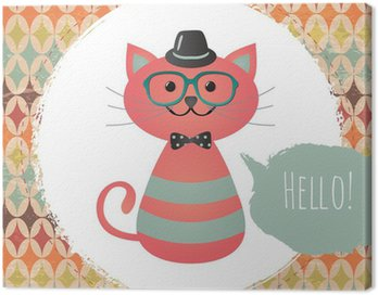 Canvas Print Vector Hipster Cat greeting card design illustration