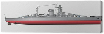 Canvas Print Vector illustration of battleship