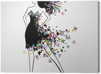 Vector Illustration of Beautiful Woman with Butterfly Dress