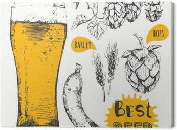 Canvas Print Vector illustration of beer and sausages. Pub menu.