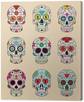 Canvas Print vector illustration set of skulls in mexican tradition