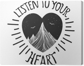 Canvas Print Vector illustration with mountains inside the heart