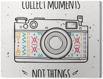 """Vector illustration with retro photo camera and typography phrase """"Collect moments not things"""". Canvas Print"""