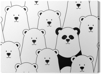 Canvas Print Vector seamless pattern with white polar bears and panda