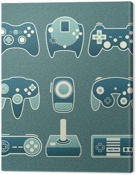 Canvas Print Vector Set: Retro Video Game Remote Controls
