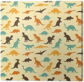 vector set silhouettes of dinosaur, retro pattern background Canvas Print