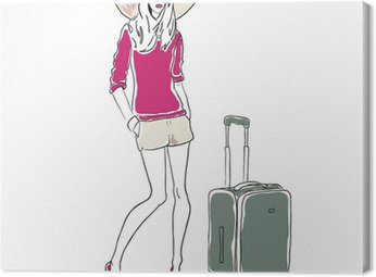 Canvas Print Vector sketch fashion woman with bag