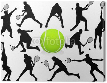 Canvas Print Vector Tennis Players Silhouettes