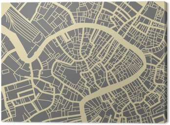 Canvas Print Venice vector map. Monochrome vintage design base for travel card, advertising, gift or poster.