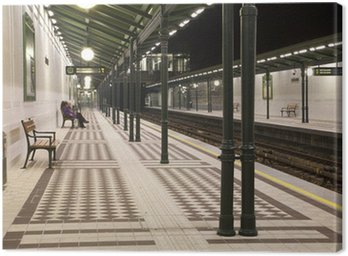 Vienna metro station in the night Canvas Print