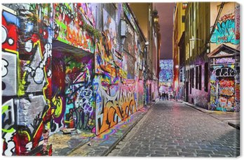 View of colorful graffiti artwork at Hosier Lane in Melbourne Canvas Print