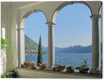 View to the lake Como from villa Monastero. Italy Canvas Print