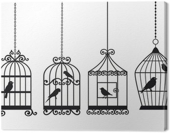 Canvas Print vintage birdcages with birds