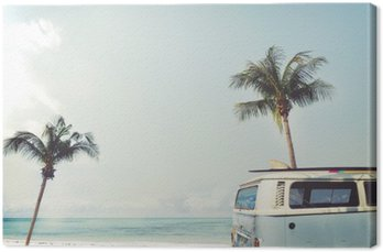Vintage car parked on the tropical beach (seaside) with a surfboard on the roof - Leisure trip in the summer Canvas Print