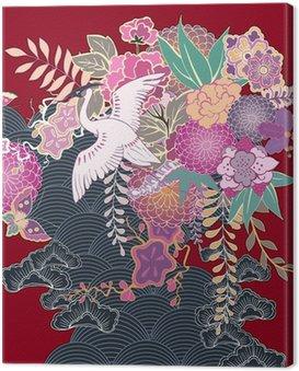 Canvas Print Vintage kimono floral motif