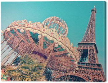 Canvas Print Vintage merry-go-round and the Eiffel tower, Paris France