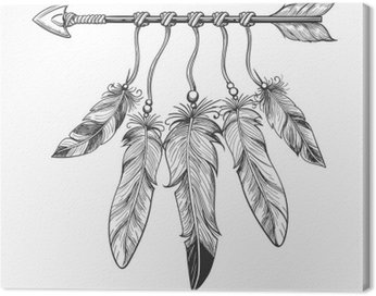 Canvas Print Vintage nativity hand drawn arrow with feathers. Tribal boho indian dreamcatche talisman isolated on white background. Vector illustration