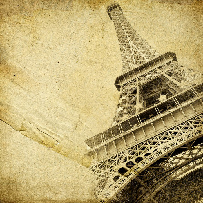 Canvas Print vintage paper with eiffel tower - Themes