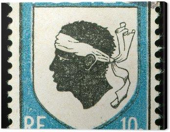 vintage postage stamp with corsica national emblem