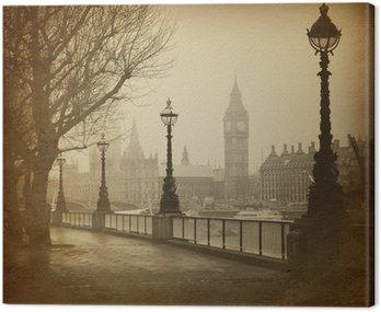 Vintage Retro Picture of Big Ben / Houses of Parliament (London)