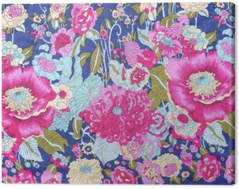 Canvas Print vintage style of tapestry flowers fabric pattern background