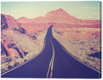 Canvas Print Vintage toned curved desert highway, travel concept, USA
