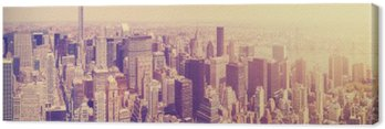 Canvas Print Vintage toned Manhattan skyline at sunset, NYC, USA.