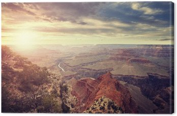 Canvas Print Vintage toned sunset over Grand Canyon, one of the top tourist destinations in the United States.