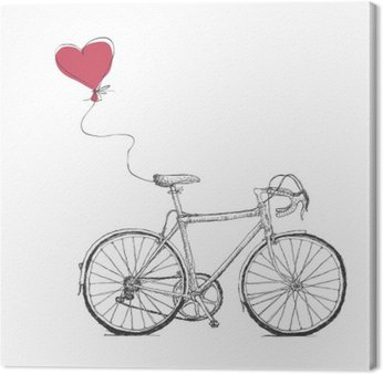 Canvas Print Vintage Valentines Illustration with Bicycle and Heart Baloon