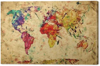Canvas Print Vintage world map. Colorful paint, watercolor on grunge paper