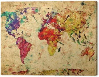 Vintage world map. Colorful paint, watercolor on grunge paper