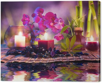 Canvas Print violet composition - candles, oil, orchids and bamboo on water