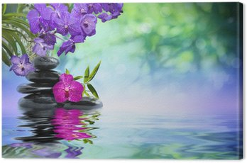 violet orchids, black stones on the water