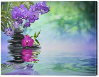 Canvas Print violet orchids, black stones on the water